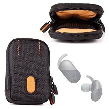DURAGADGET - Funda Negro/Naranja Para Auriculares Jaybird Run, Sony wf-sp700 N y Anker Zolo Liberty +, resistente al agua y pasador para cinturón - Garantía ...