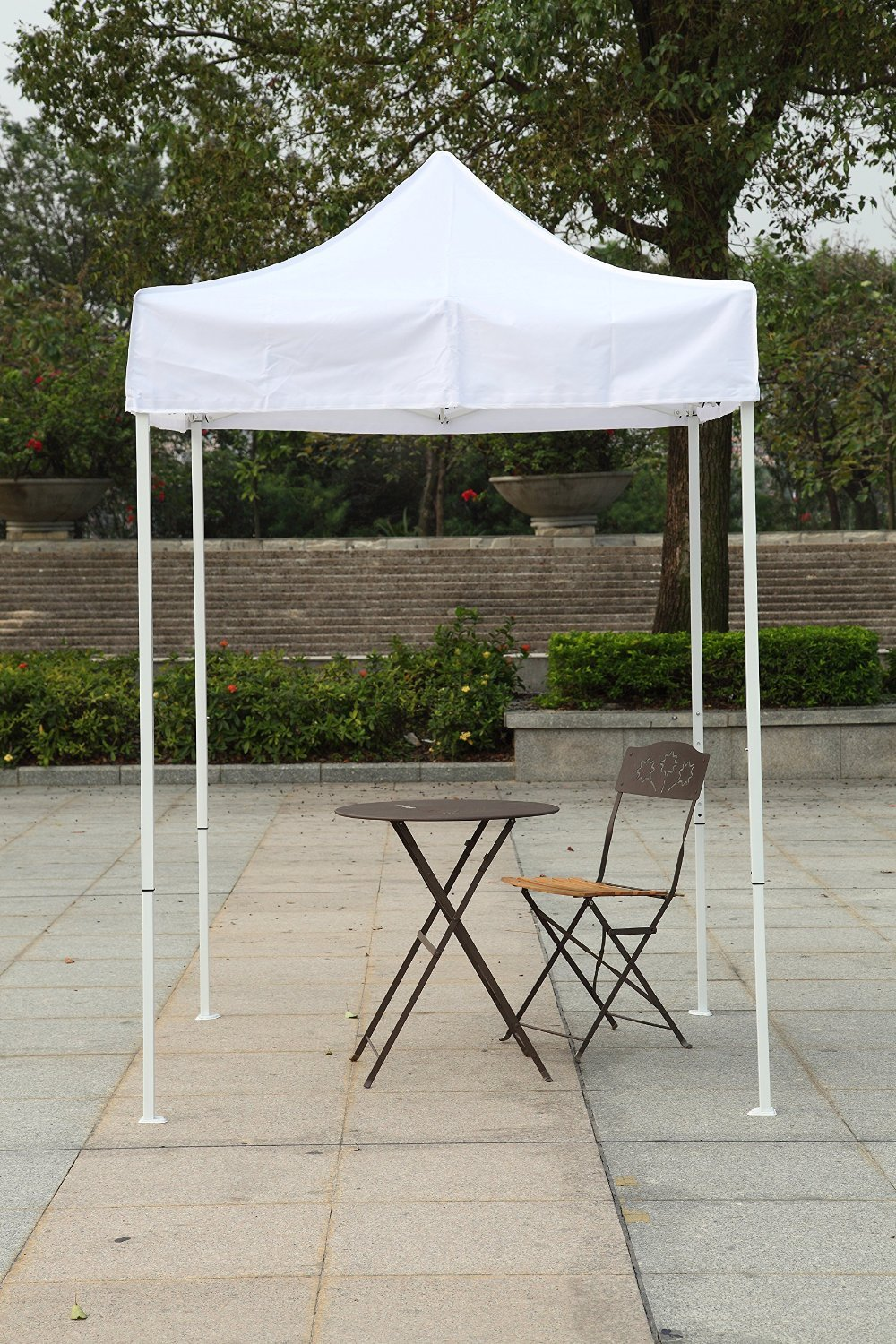 [White Frame] 5x5 Feet Canopy Tent Gazebo Party Canopy Commercial Fair Shelter Car Canopy Wedding Party Easy Pop Up (White)