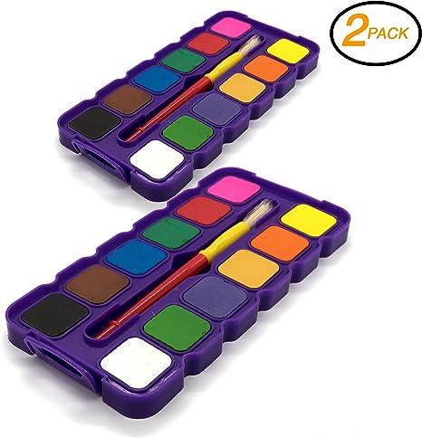 EMRAW Surtido 12 colores lavables fácil de despegar acuarelas con cepillo y paleta de mezclar artista pintura Set arte Craft herramienta (Pack de 2): Amazon.es: Juguetes y juegos