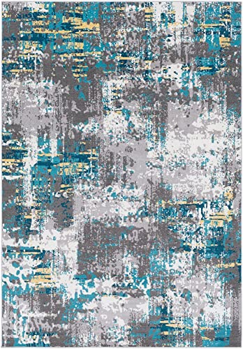 Goldston Abstract Blue Gray 7'10″ x 10'2″ Area Rug