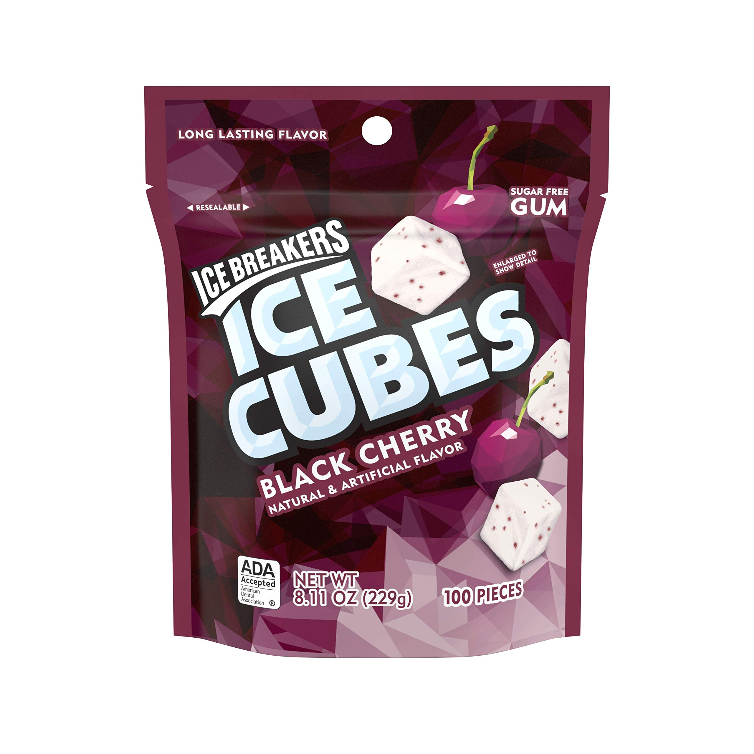 Ice Breakers Ice Cubes Sugar Free Black Cherry Gum, 8.11 Oz
