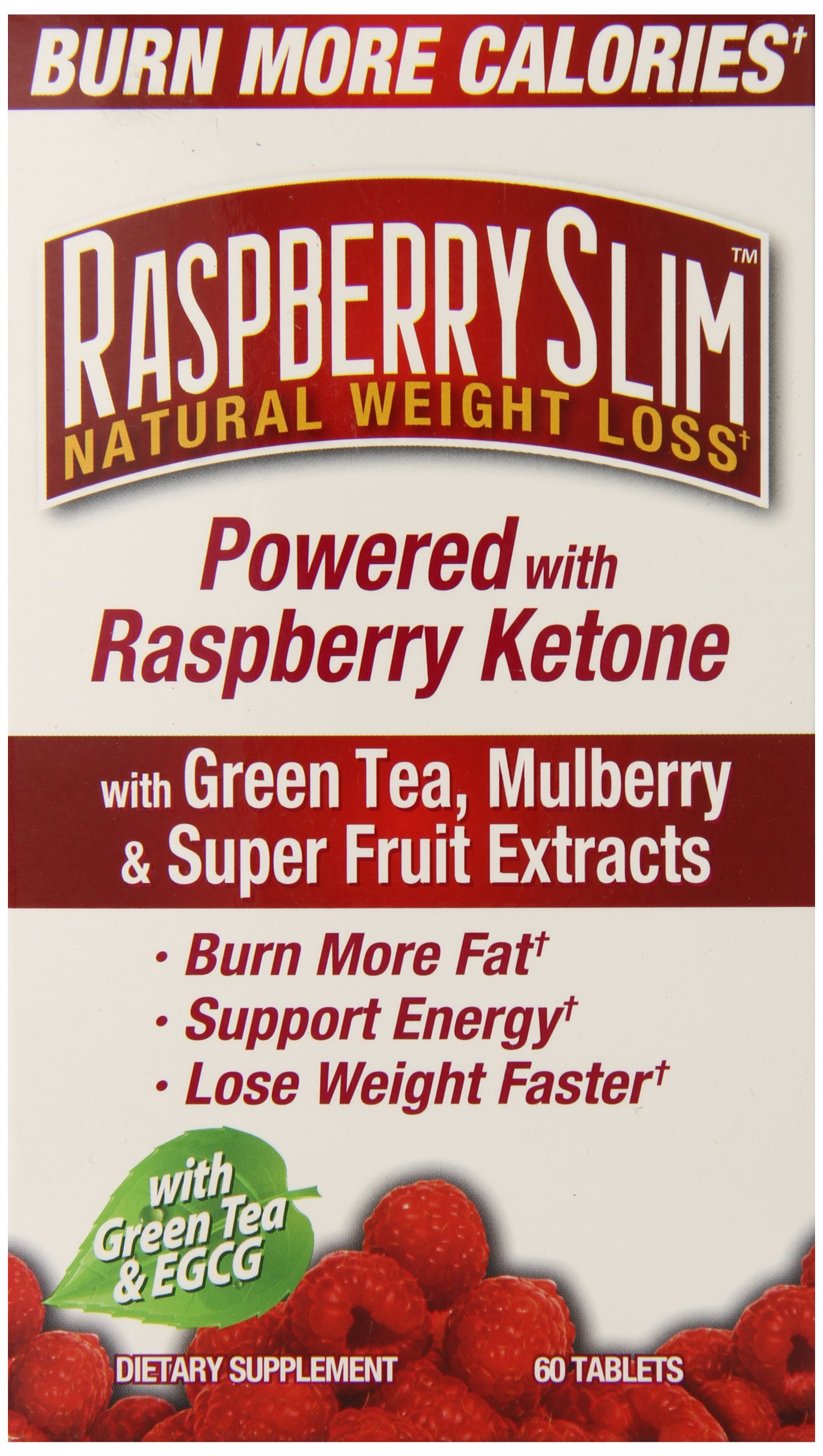 Raspberry Slim Natural Weight Loss, Raspberry Ketone, Green Tea, Super Fruit Extracts, Burn Fat, 60 servings