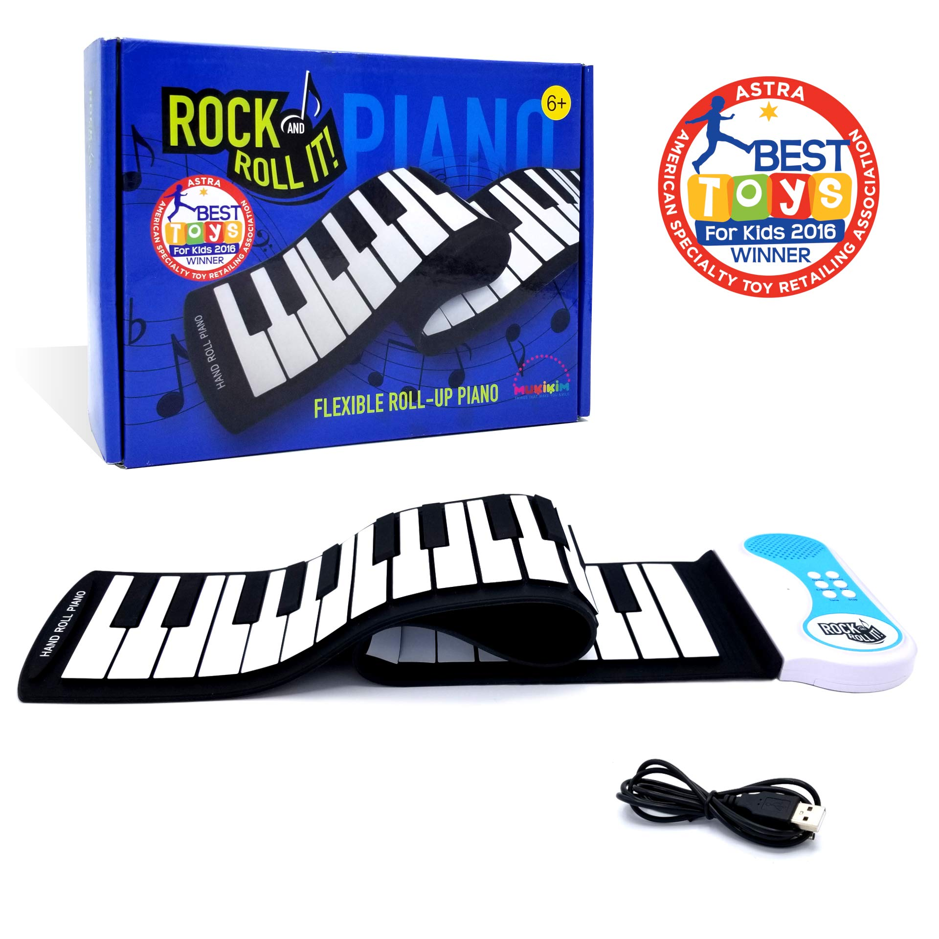 MukikiM Rock And Roll It - Piano. Flexible, Completely Portable, 49 standard Keys, battery OR USB powered. 2016 ASTRA Best Toy for Kids Award Winner! by MukikiM