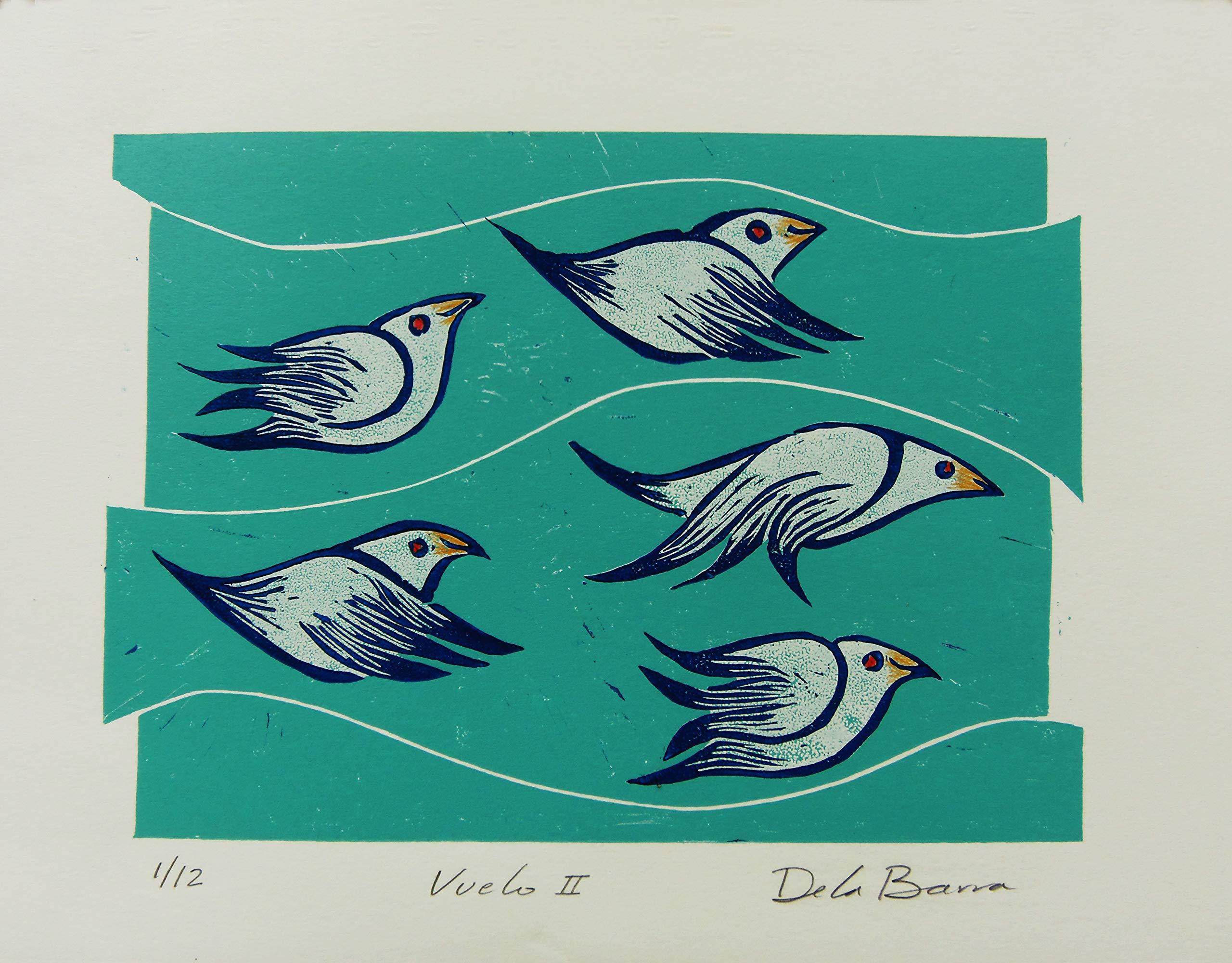 Vuelo II Original print linocut on paper by