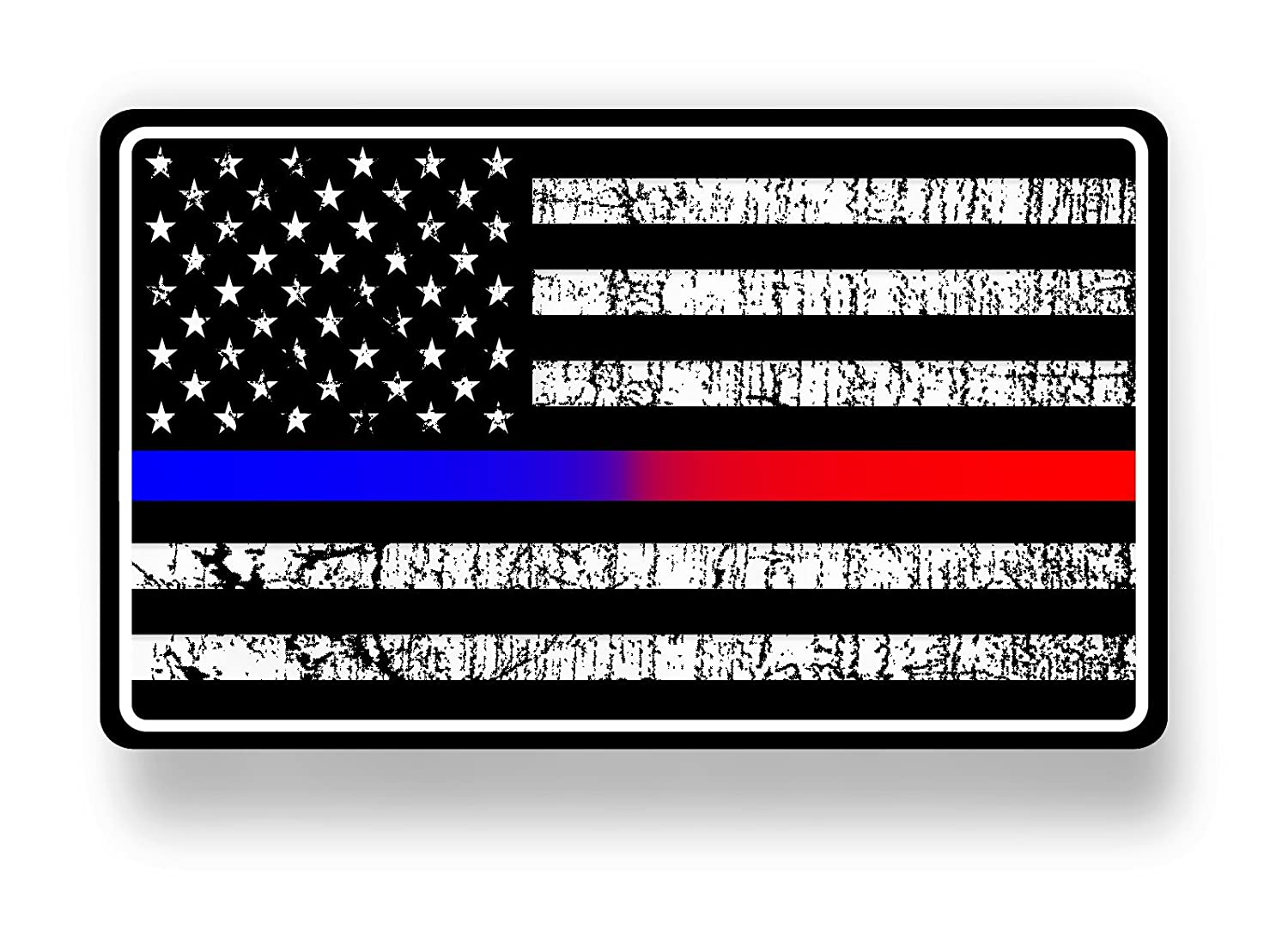Amazon com police and fire dept blue red line american flag sticker decal automotive