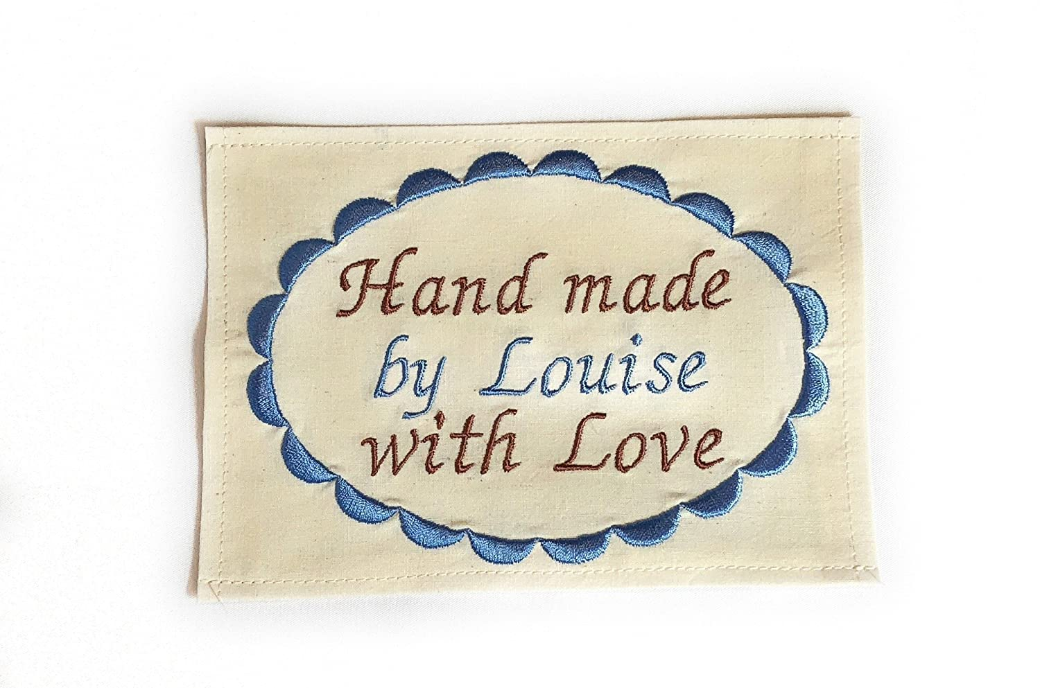 Hearts /& bells embroidered quilt label to customize with your personal message