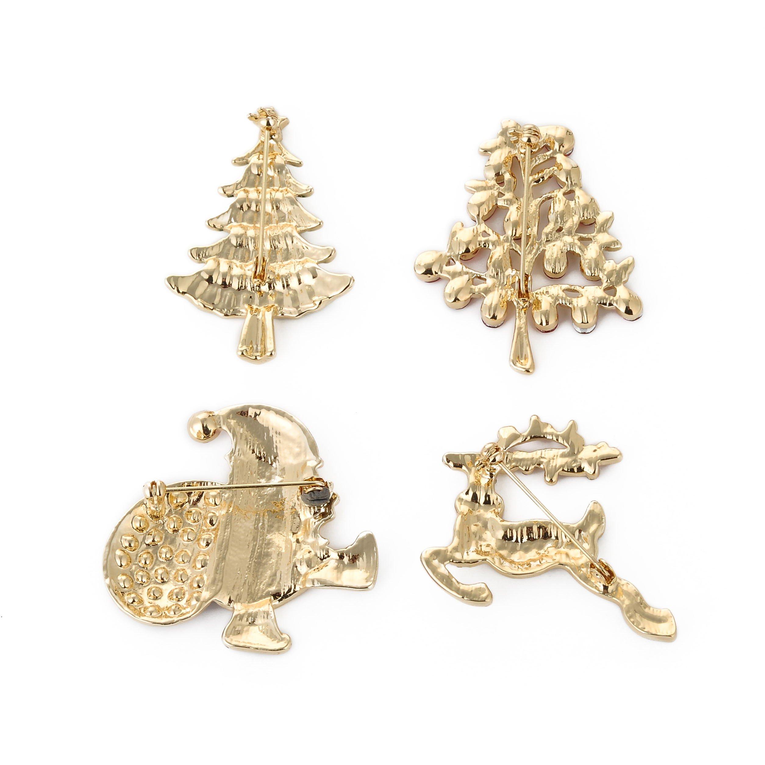 YSD Christmas Brooch Pins set Holiday Brooch Xmas Pin Lot Party Favor set christmas tree pins set by YSD (Image #6)
