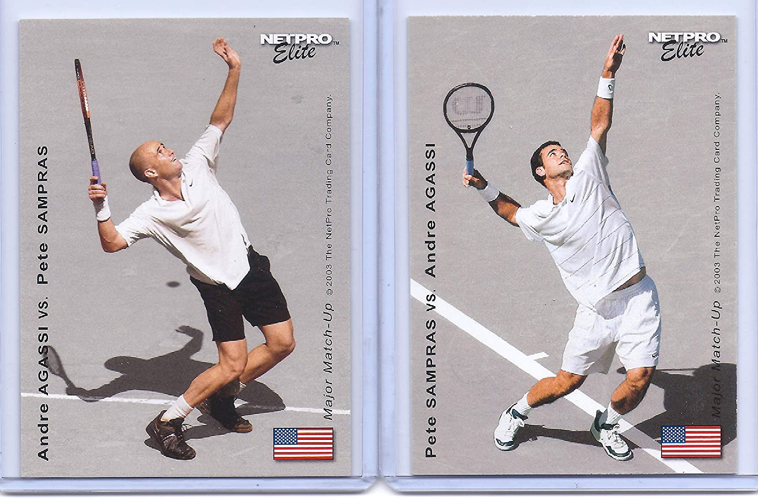 Andre Agassi & PETE SAMPRAS U.S.A. 2003 NETPRO Elite Great Matchup Dual FLIP Rookie Card! Tennis Legends!