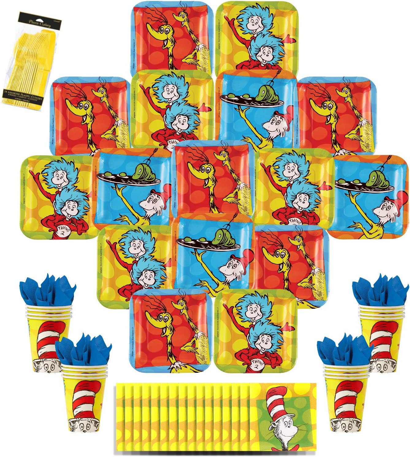 Dr. Seuss Party Pack Seats 16 - Napkins, Plates, Cups, & Cutlery - Party Supplies Decorations, Standard Party Pack