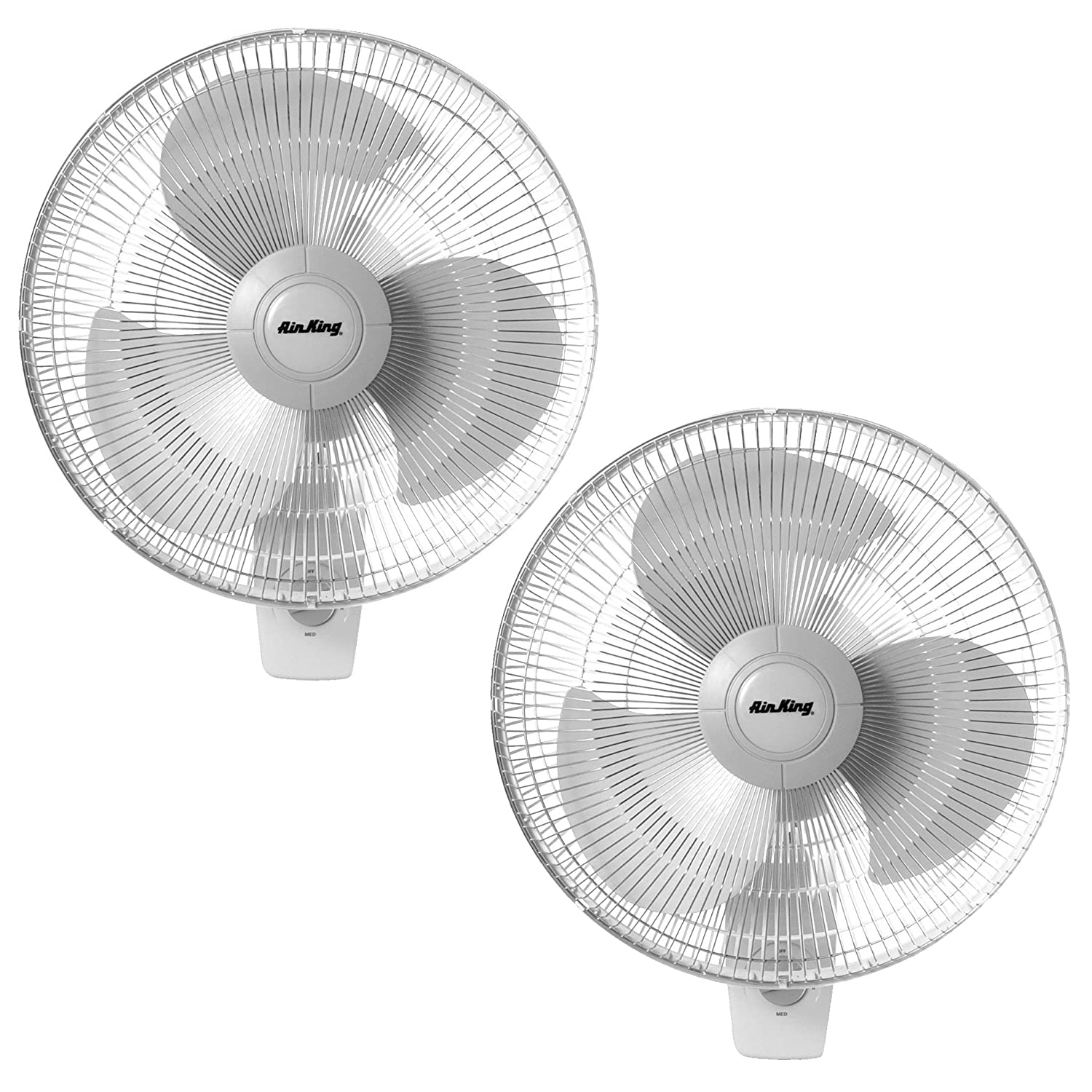 Air King 16 Inch Commercial Grade Oscillating 3 Blade Wall Mount Fan 2 Pack