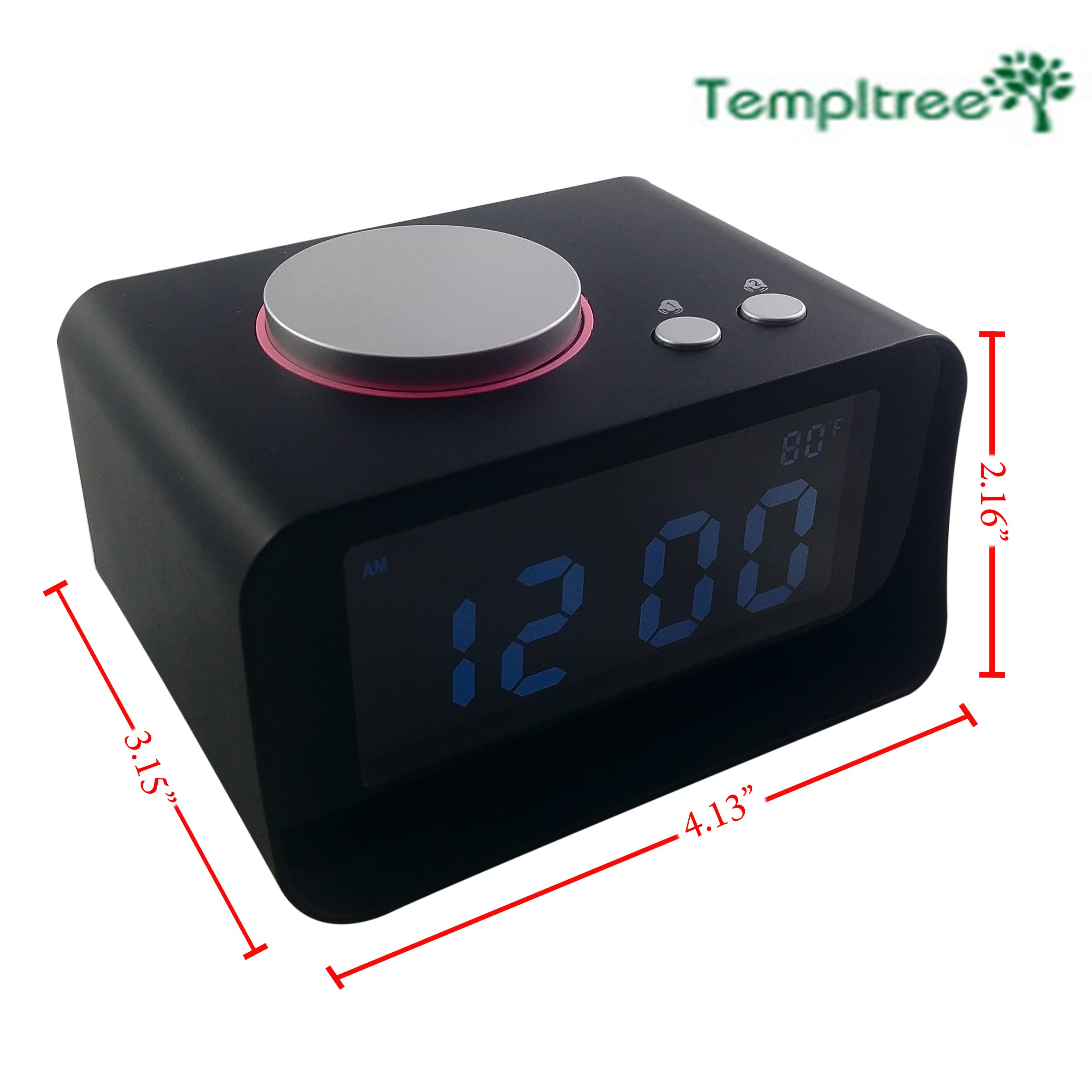 Templtree Hotel Alarm Clock, FM Radio, Dual USB Charging,Snooze Function, Aux in, and 5 Levels of Brightness