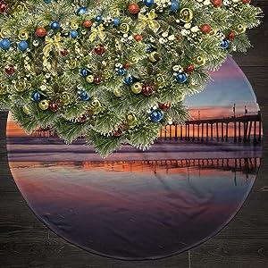 Legoushop Christmas Tree Skirt,35.5 Inch Holiday Tree Polyester Skirt Ornaments,Huntington Beach Pier Christmas Tree Pattern