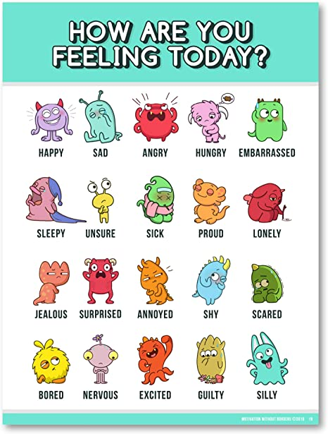 Amazon.com: Feelings Chart for Kids (Emotions Poster -18X24 LAMINATED) Emotions  Chart is ideal for Classroom Posters or Classroom Decorations (1 Poster  Included): Everything Else