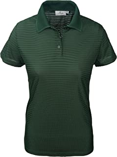 product image for Akwa Made in USA Women's Dry Wicking Polo Shirt with Check Pattern and No-Curl Collar