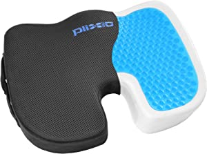 Plixio Gel Seat Cushion Memory Foam Chair Pillow with Cooling Gel for Sciatica, Coccyx, Back & Tailbone Pain Relief (Renewed)