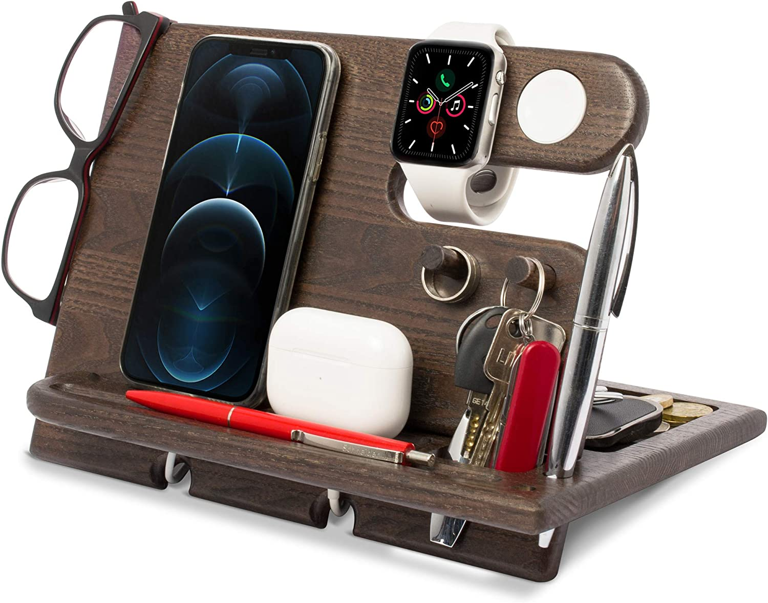 TESLYAR Wood Phone Docking Station Ash Key Holder Wallet Stand Watch Organizer Men Gift Husband Wife Anniversary Dad Birthday Nightstand Father Graduation Gadgets Compatible with iPhone AirPods iWatch