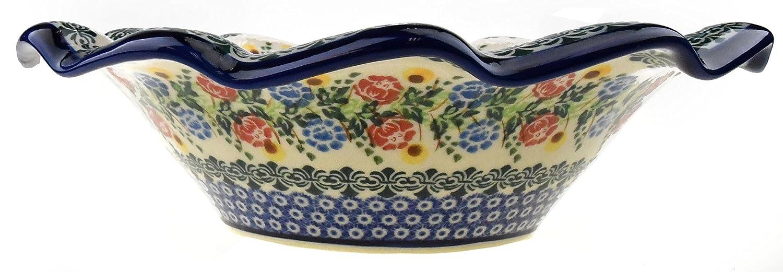 Daisies Ceramika Boleslawiecka Kalich Original Polish Hand Made Pottery Serving Wavy Bowl