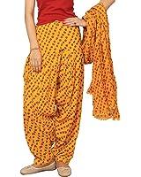 Rama Women's Cotton Yellow Bandhej Print Patiala dupatta set.