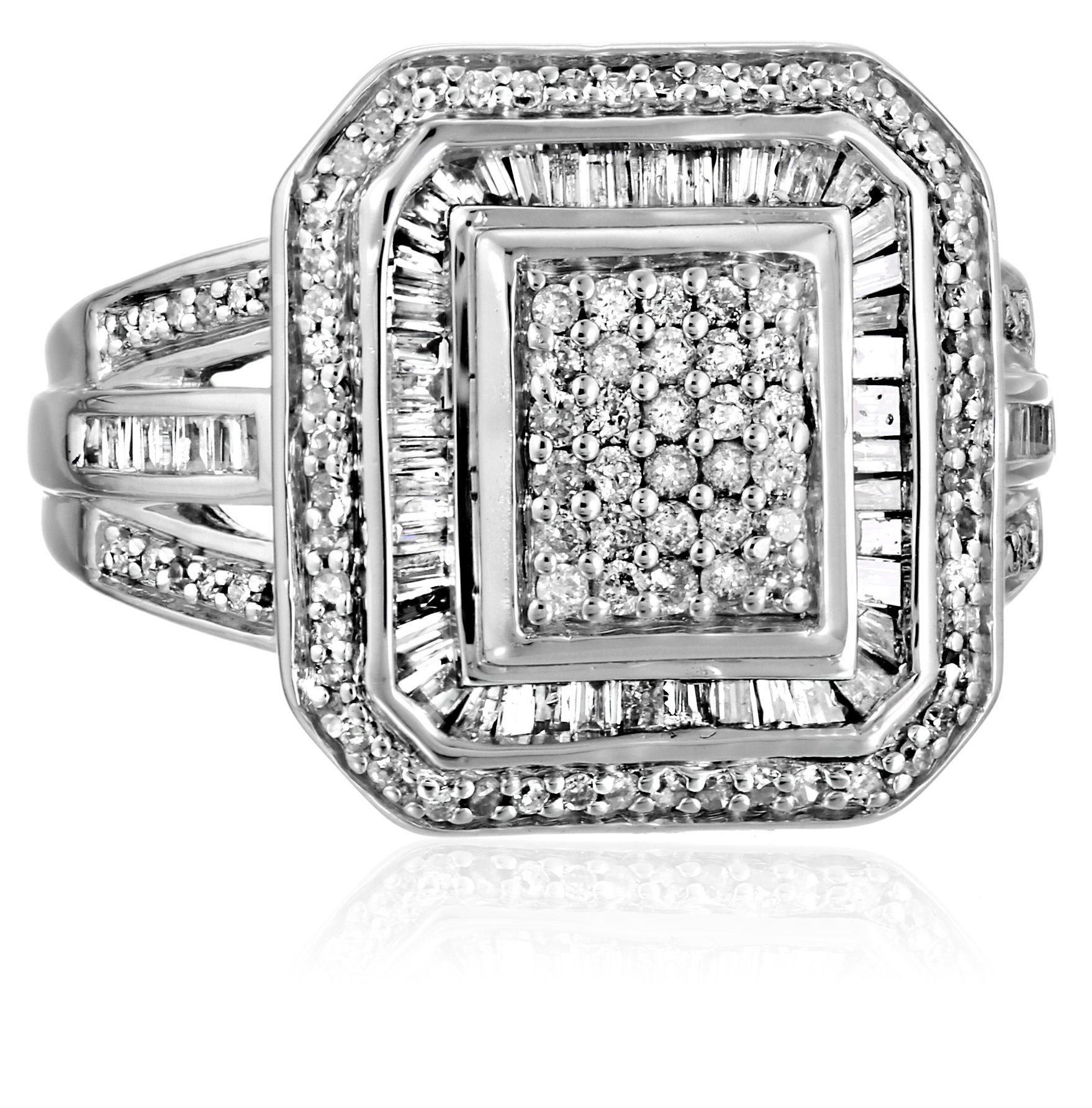 Sterling Silver Diamond (1cttw, I-J Color, I2-I3 Clarity) Fashion Ring, Size 8