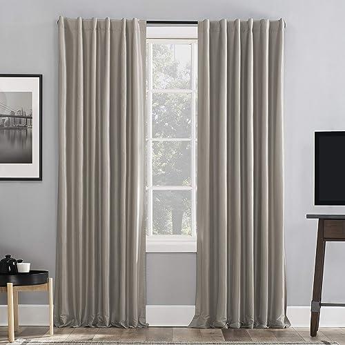 Sun Zero Greyson Faux Dupioni Silk Extreme 100 Blackout Back Tab Curtain Panel
