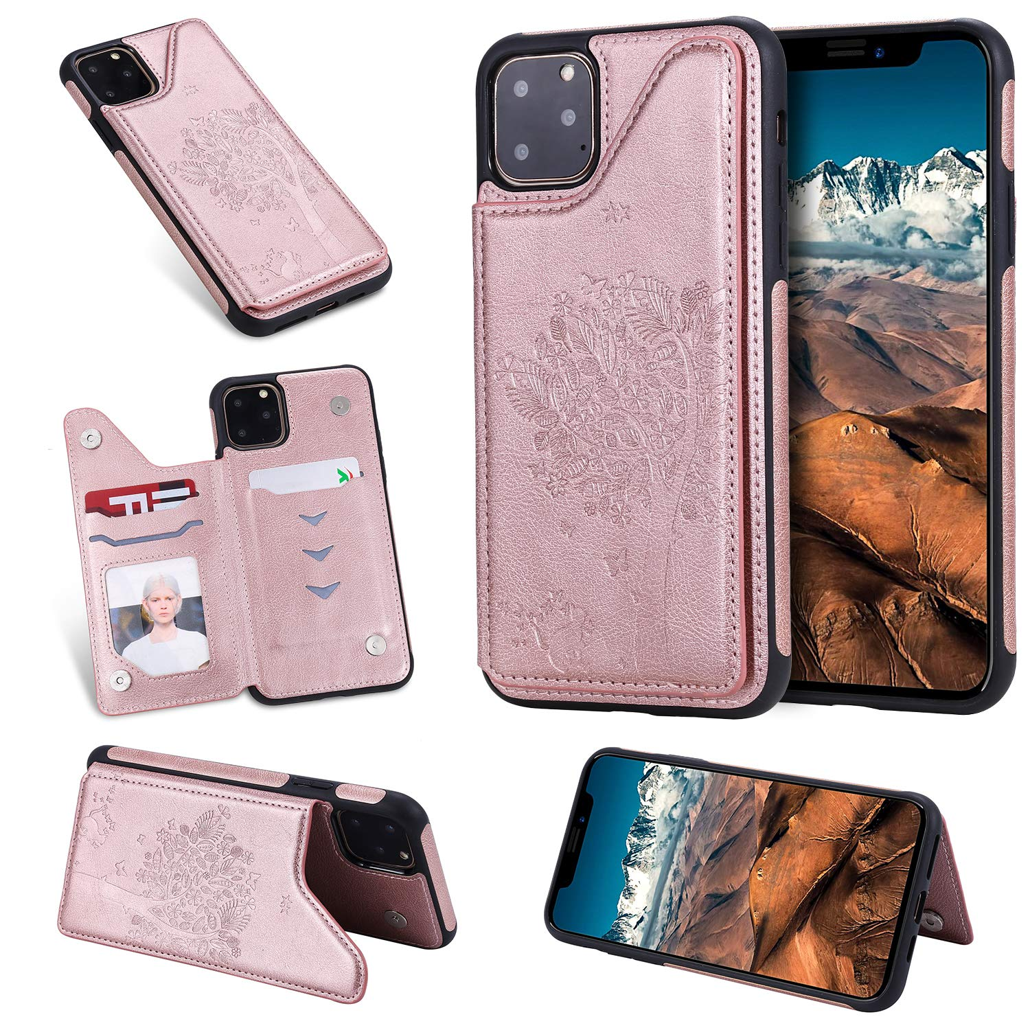 Tznzxm iPhone 2019 (XI Max) 6.5'' Case,Fashion Tree Cat Design PU Leather Kickstand Card Slots Double Magnetic Clasp Durable Shockproof Soft TPU Back Wallet Flip Cover for iPhone XI Max 2019 Rose Gold by Tznzxm