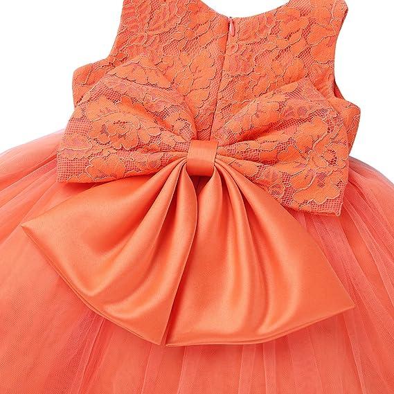 Flower Ruffled Princess Bowknot Baby Party Dress