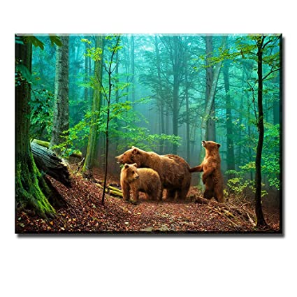 Brown Bear Wall Art For Kids Room PIY Cute Animal Canvas Painting Of Mother And