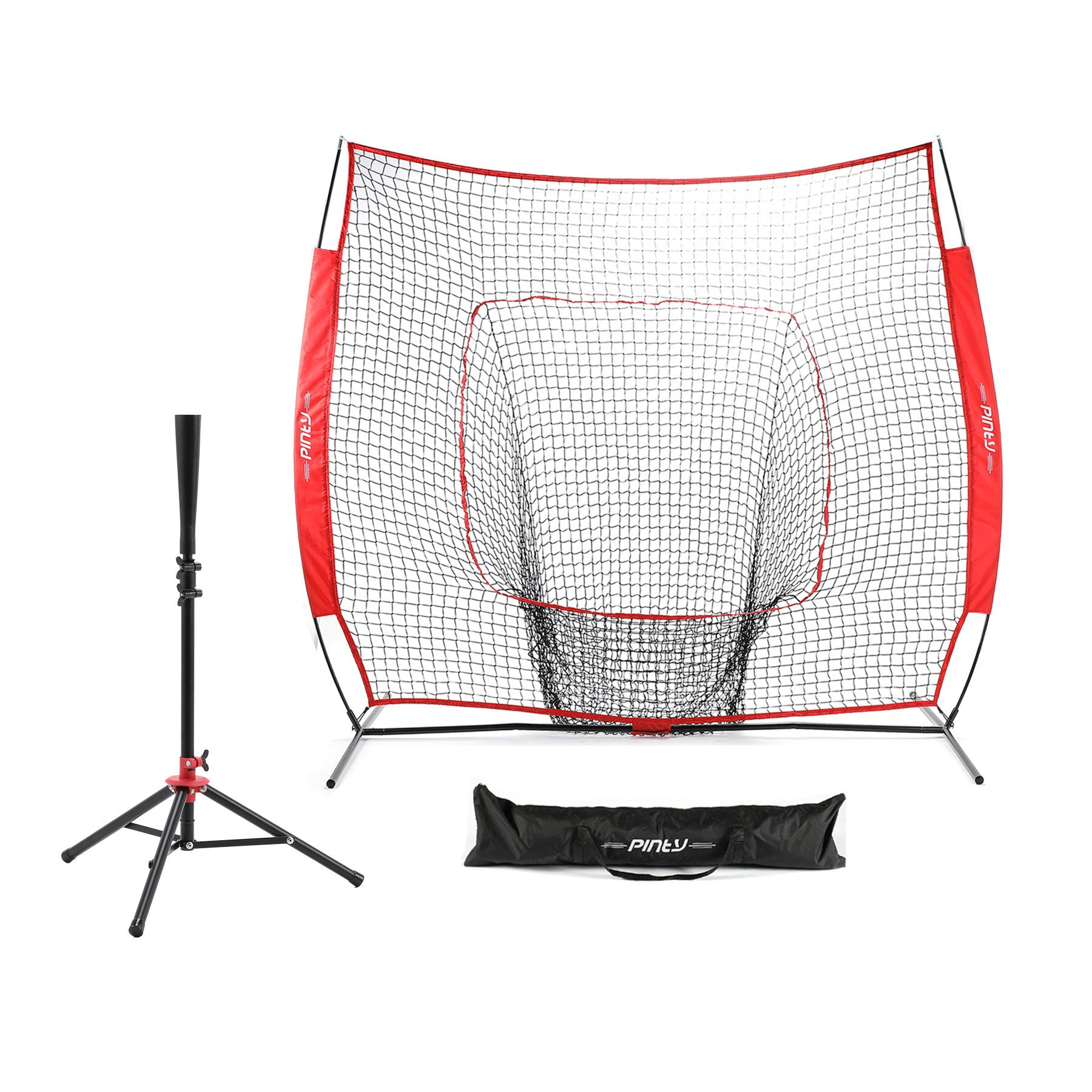 Pinty Baseball and Softball Practice Net 7'×7' Portable Hitting Batting Training Net with Carry Bag & Metal Frame + Baseball Softball Batting Tee (Baseball Net with Batting Tee(Red)) by Pinty