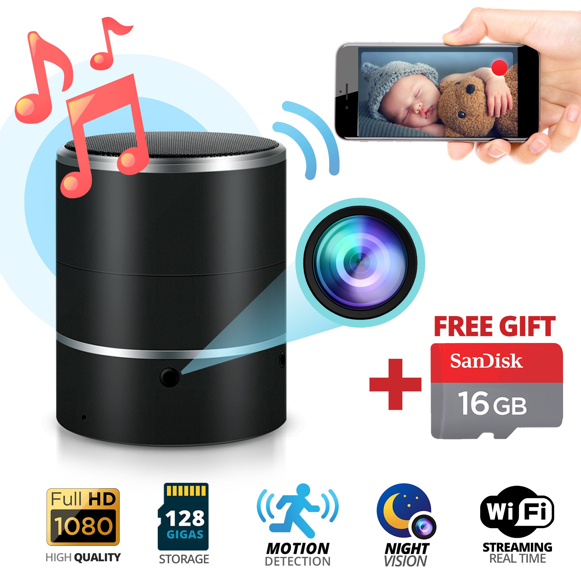 Spy Hidden Camera & Bluetooth Speaker 1080P Night Vision Motion Detection SD Card 16GB Included WiFi Remote Surveillance Security Camera Nanny Cam 180° Rotating Lens with Android & iOS iPhone App