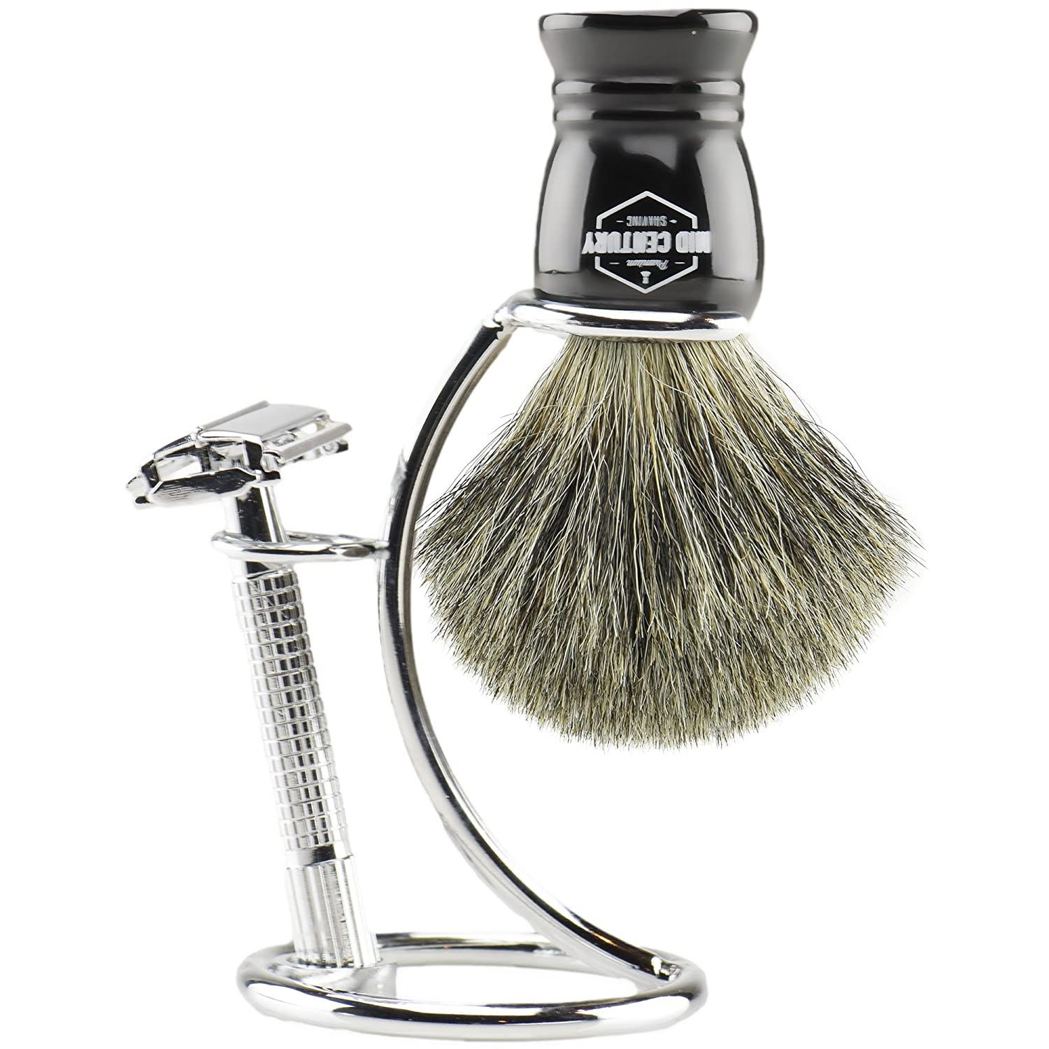 MCS Premium Safety Razor Shaving Kit: Complete Wet Shave Set w/Double Edge Razor, Pure Badger Brush, Heavy Chrome Stand, Travel Case, Extra Blades & Gift Box (Black)
