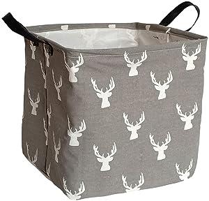 KUNRO Large Sized Round Storage Basket Waterproof Coating Organizer Bin Laundry Hamper for Nursery Clothes Toys