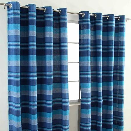 Homescapes Blue Eyelet Curtain Pair 167cm 66quot Wide X 182cm 72quot