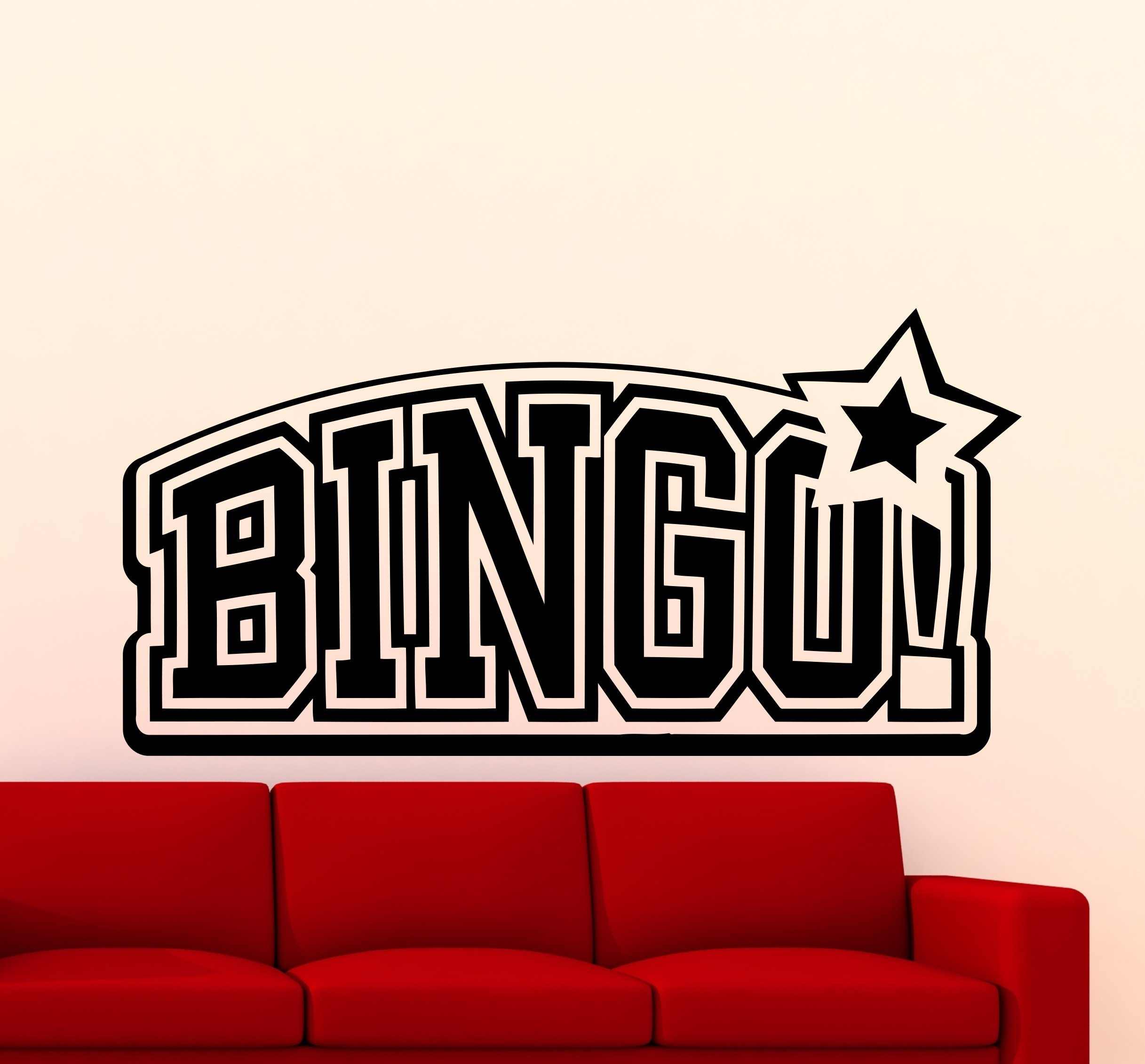 Bingo Logo Wall Decal Bingo! Emblem Casino Lottery Office Vinyl Sticker Home Room Interior Art Decoration Any Room Mural Waterproof Vinyl Sticker (245xx) by Awesome Decals