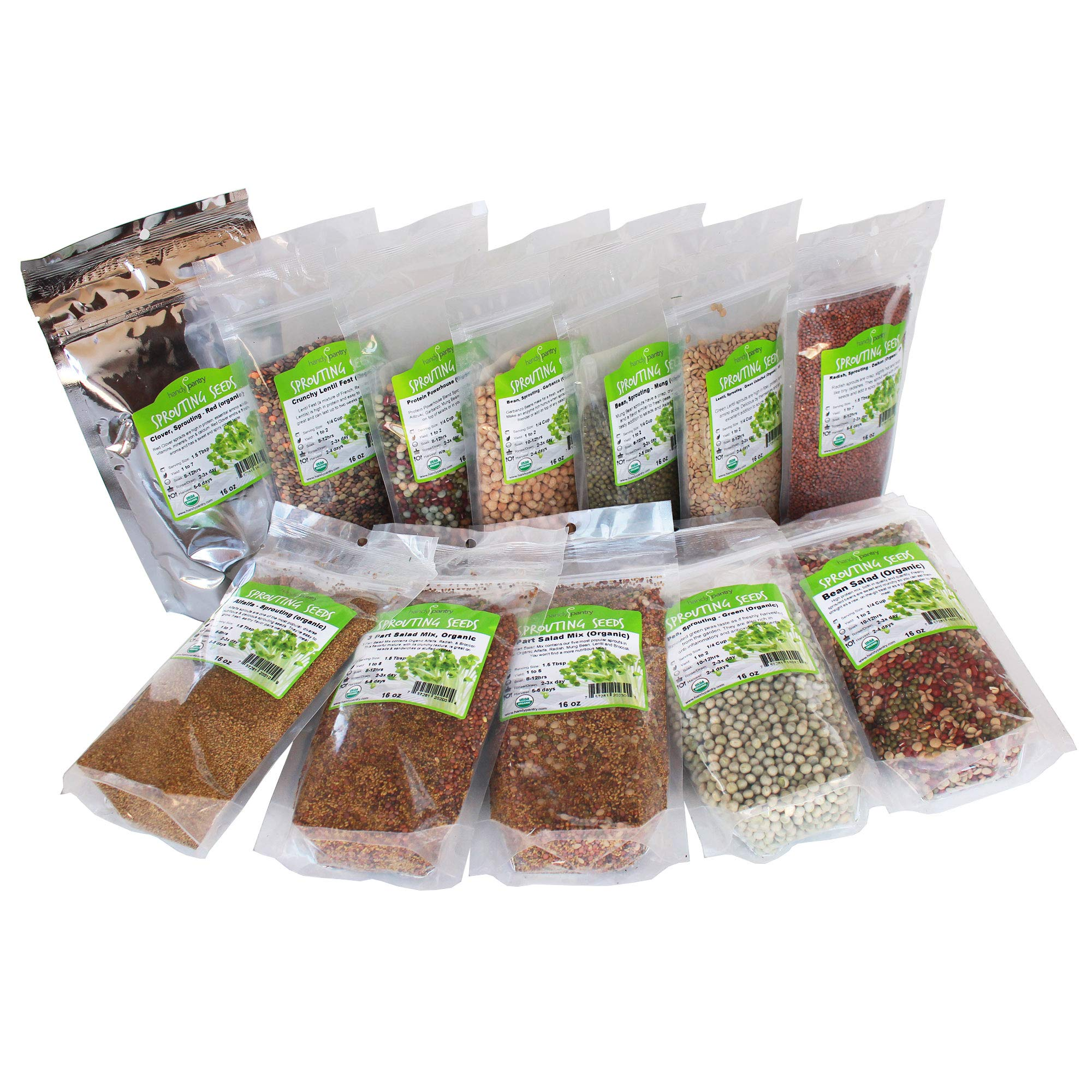 Beginners Dozen Organic Sprouting Seeds - 1 Lb Ea. of Alfalfa, Bean Salad, Lentil Fest, Red Clover, Garbanzo, Green Lentil, Green Pea, Mung Bean, Protein Powerhouse, 3 Salad, 5 Salad, & Radish by Handy Pantry