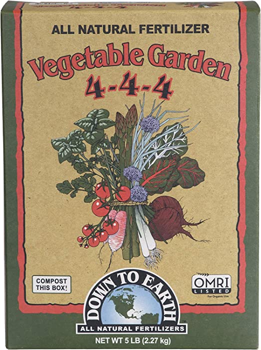 Down to Earth Organic Vegetable Garden Fertilizer 4-4-4, 5lb