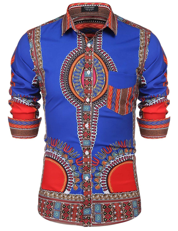 f4c2a0c79d6 COOFANDY Mens African Print Shirt Bright Dashiki Long Sleeve Button Down  Shirt at Amazon Men s Clothing store