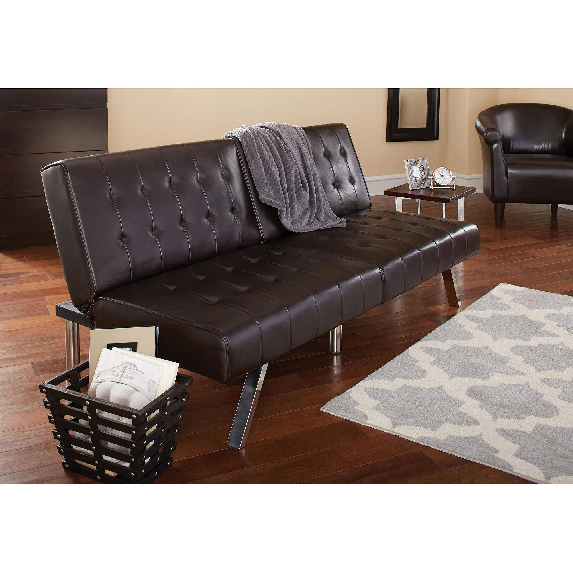 Morgan Faux Leather Tufted Convertible Futon, Brown, Modern Look, Quickly Converts from Sofa to Lounger to Sleeper, Click-clack Technology, Strong Stainless Steel Legs + Expert Guide by eCom Rocket