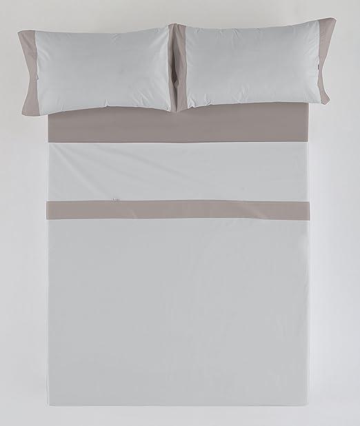 ESTELA - Juego de sábanas Lisos con Aplique Color Perla-Plomo (4 ...
