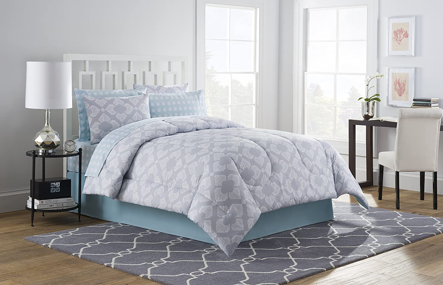 Style Decor OZ1020S51LBL Twin XL Chandra 6Piece Bed-in-a-Bag Comforter Set, Blue, Twin X-Large