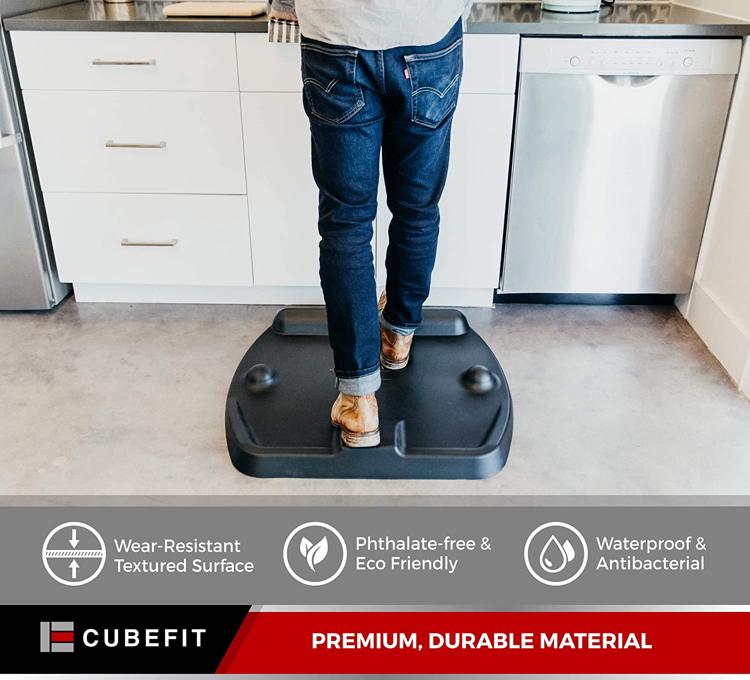 Acupuncture Balance Bar and Power Wedge to Stretch Anti Fatigue Mat and Standing Desk Mat with Built-in Massage Mounds and Stimulate Your Feet and Legs CubeFit Terramat Support