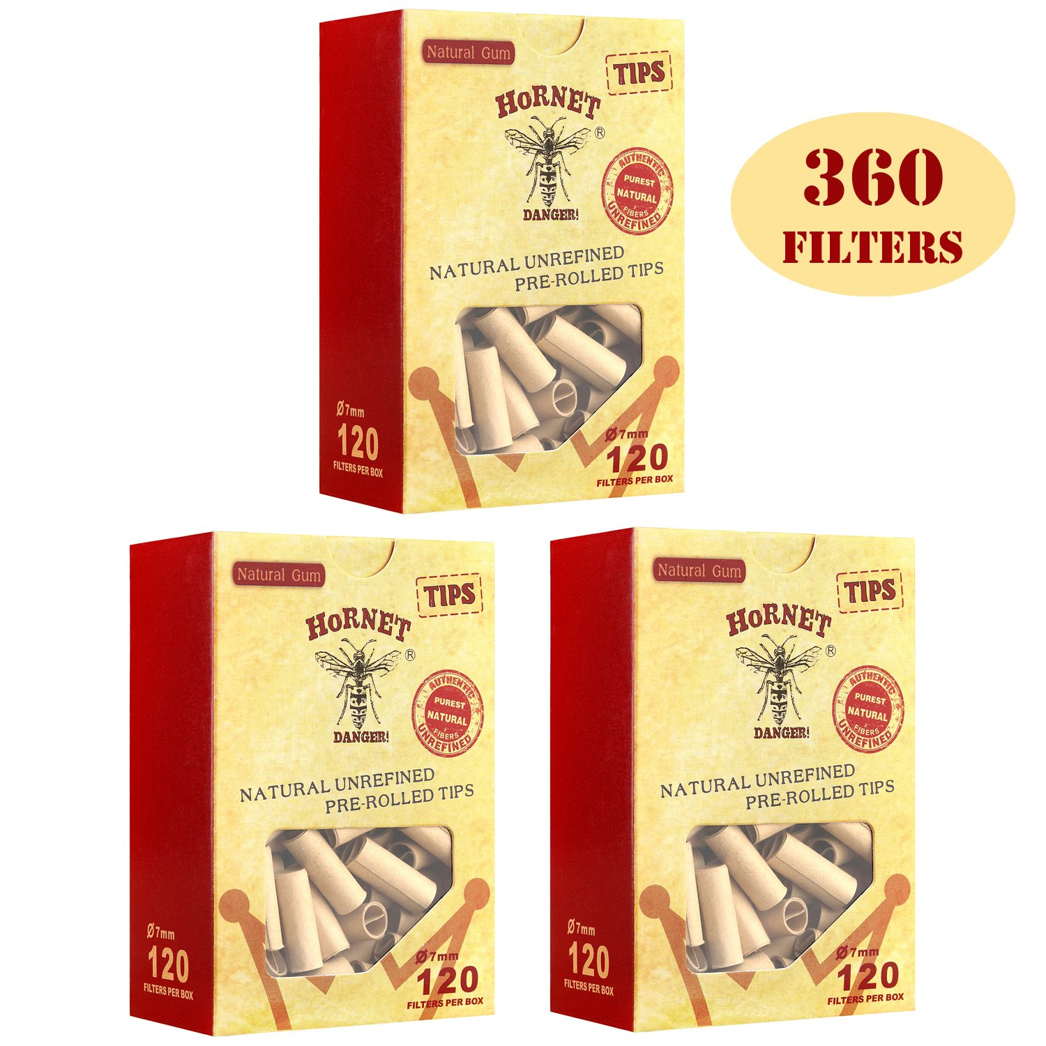 HORNET 360 Pre-Rolled Filters Natural unrefined Pre-rolled Paper Tips-3 packs of 120 tips(Ø7mm)
