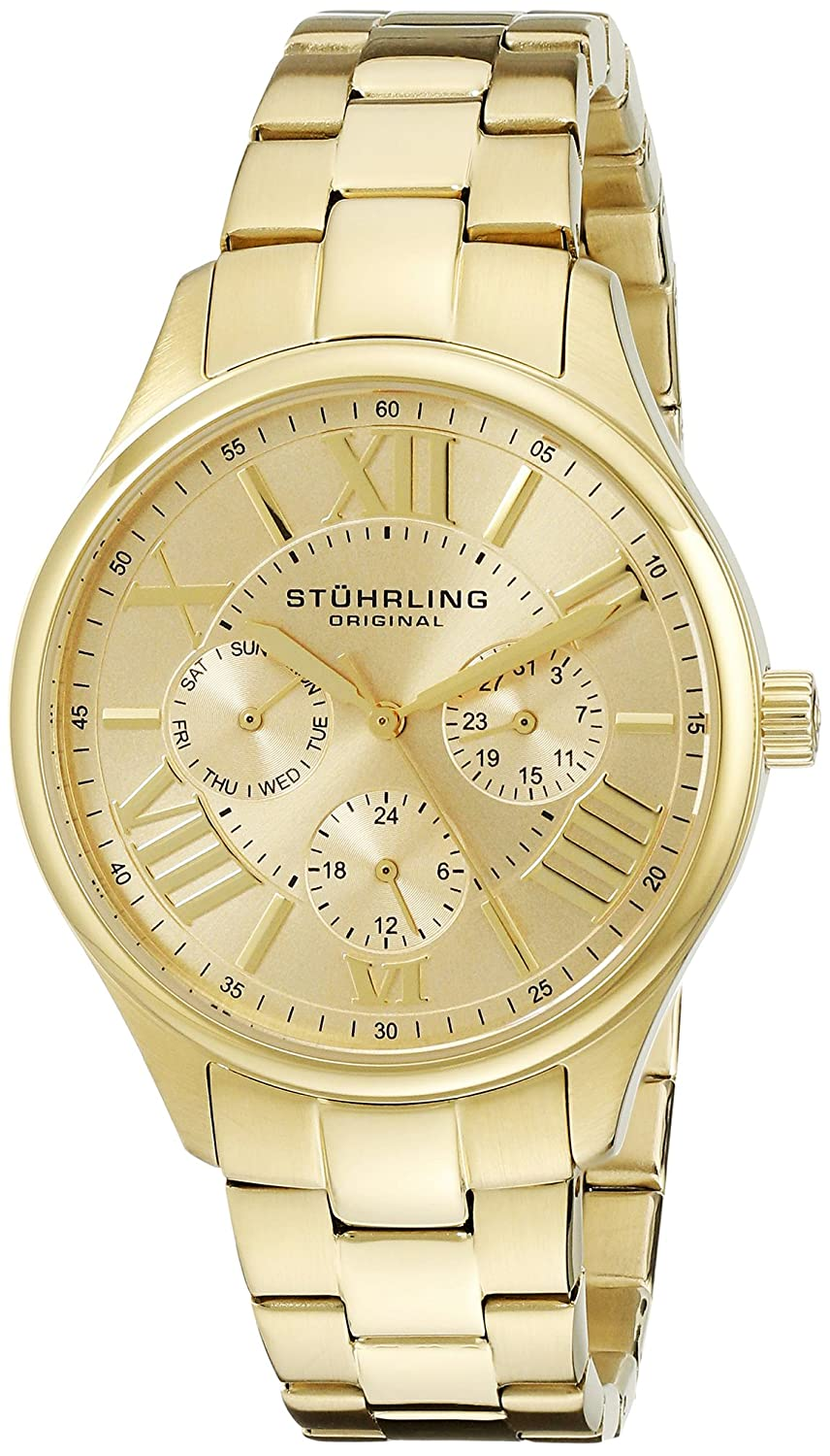 Stuhrling Original Women s 391L.03 Symphony Regent Majestic Quartz Day and Date Gold-Tone Bracelet Watch
