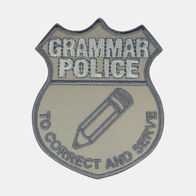 Gramática Policía coser o hierro EN Applique – Parche/insignia diseño de icono de lápiz: Amazon.es: Hogar