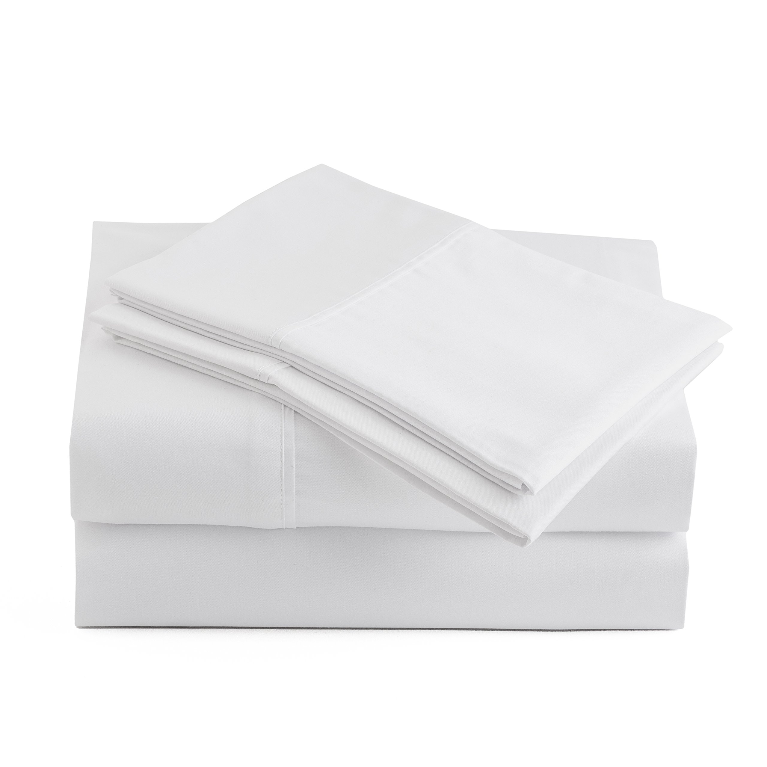 Peru Pima - Temperature Regulating Sheets - 600 Thread Count - 100% Peruvian Pima Cotton - Sateen - Bed Sheet Set - King, White