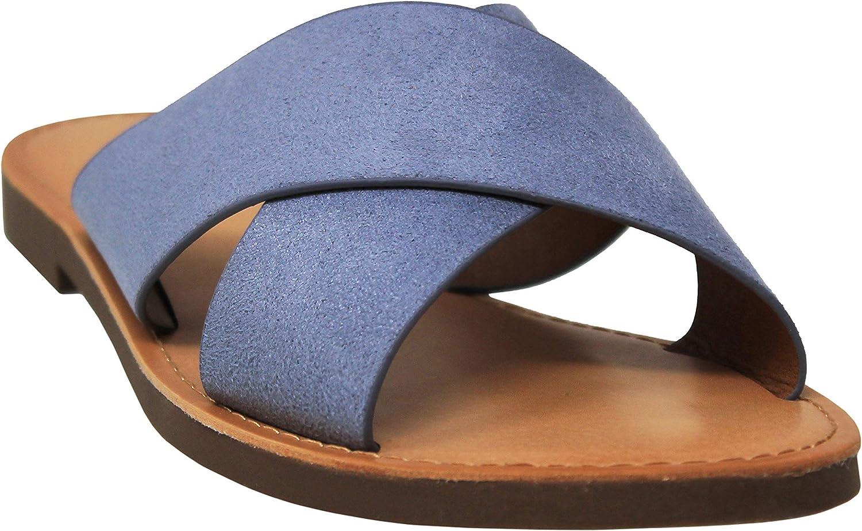MVE Shoes Womens Summer Triple Strap Cushioned Flip Flops