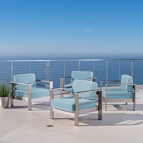 Christopher Knight Home Crested Bay Outdoor Silver Aluminum Framed Club Chairs with Light Teal and White Corded Water Resistant Cushions Set of 4