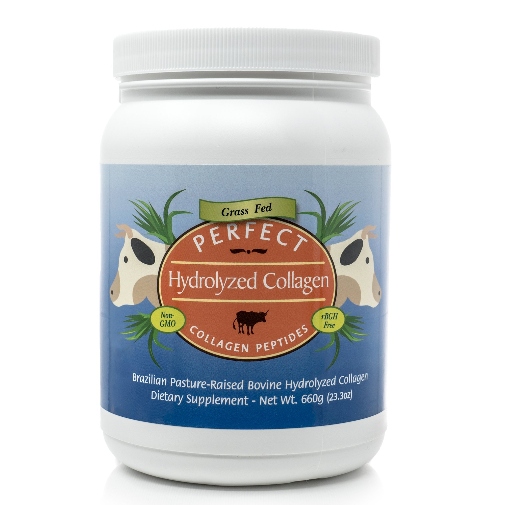 Perfect Hydrolyzed Collagen Peptides, from 100% Grass-Fed Brazilian Pasture Raised Cows, Large 660 Gram Container of Collagen Hydrolysate Powder, Highest Bioavailability