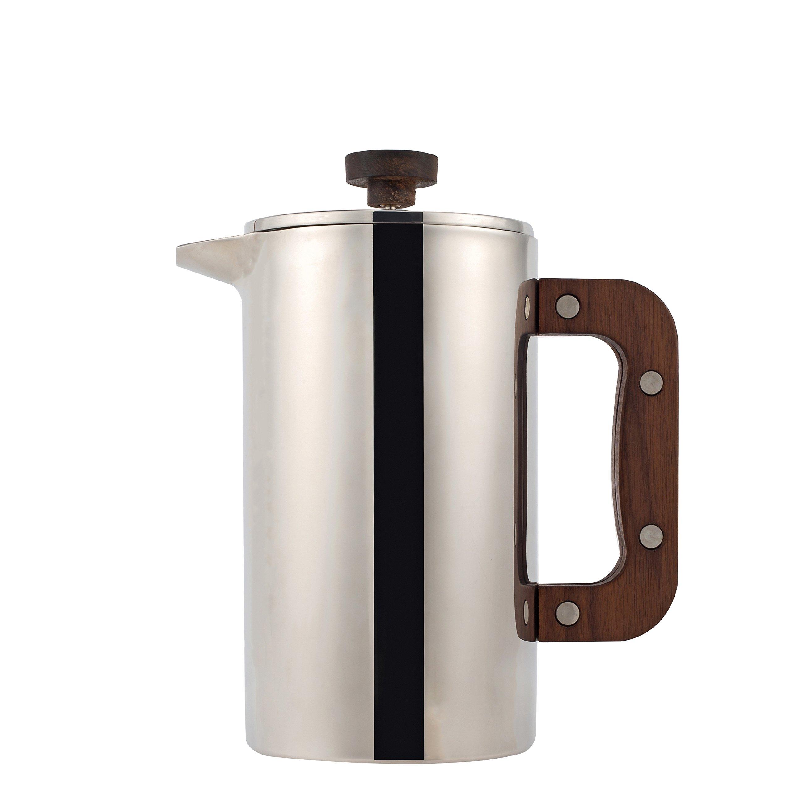 Meelio French Press Coffee Maker,1 Liter Insulate Tea/Cafe Pot with Walnut Handle and lid (Bonus 2 filter screen)