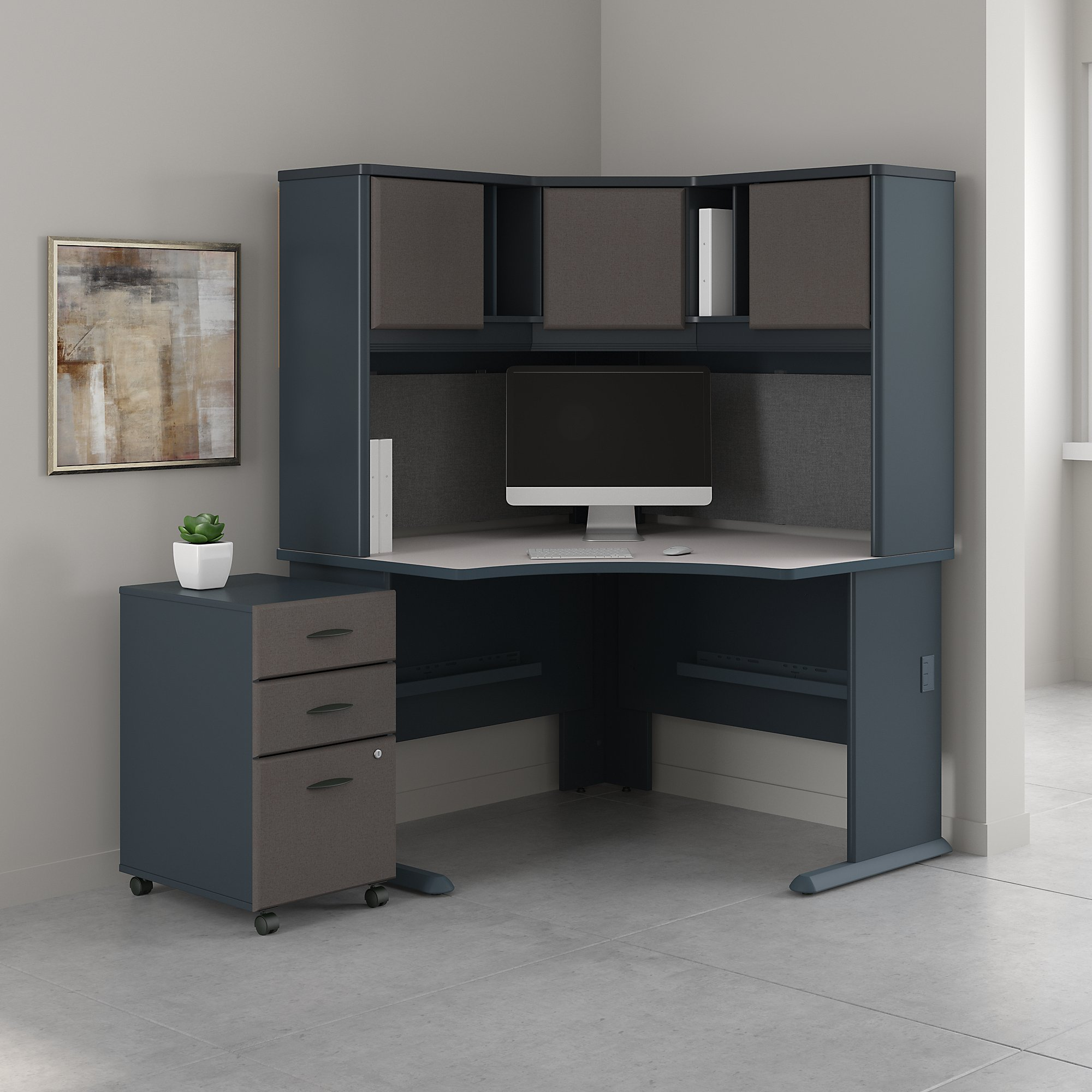 Series A 48W Corner Desk with Hutch and Mobile File Cabinet by Bush Business Furniture