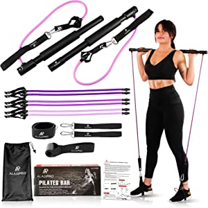 ALAGPRO Pilates Bar Kit with Resistance Bands - Portable Home Gym | Adjustable Yoga Exercise Stick | Squat Strength & Toning Equipment for Full Workout - Improve Fitness - Build Muscle & Shape Body